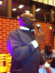 Clay Onyango addresses mourners at the Millie funds drive
