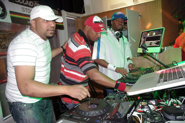 From Left to Righ: DJ's: Ismael, Frank and Safi rocking the crowd at the Siljaline during a Miss Africa Crown bash.
