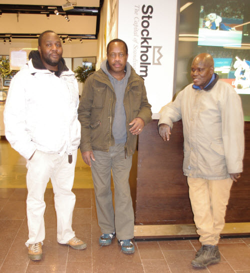 From L-R: Jacob Opande, Tonny Odera and Marine Engineer Okulo Masala at Arlanda International Airport shortly before Tonny boarded his flight to Kenya on Monday, Deb 10th 2014. Photo: Okoth Osewe.