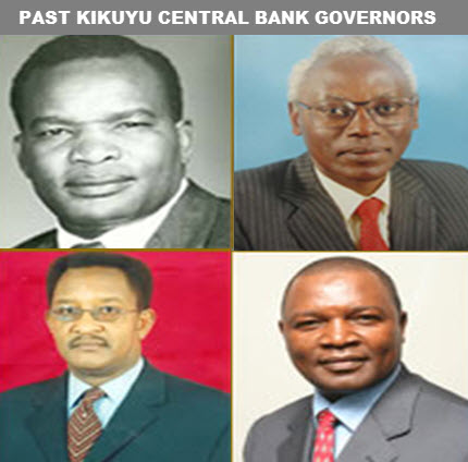 Clockwise: Mr. Duncan Ndegwa: May 1967 - December 1982; Mr. Philip Ndegwa December 1982 - January 1988; Mr. Nahashon Nyagah April 2001 - March 2003; Prof. Njuguna Ndung'u March 2007 - March 2015.